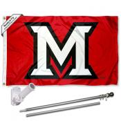 Miami Redhawks M Logo Flag Pole and Bracket Kit