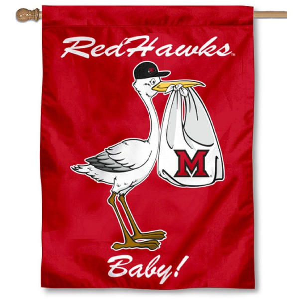 Miami Redhawks New Baby Flag measures 30x40 inches, is made of poly, has a top hanging sleeve, and offers dye sublimated Miami Redhawks logos. This Decorative Miami Redhawks New Baby House Flag is officially licensed by the NCAA.