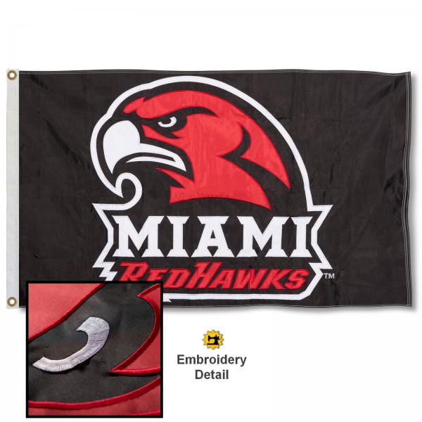 Miami Redhawks Nylon Embroidered Flag measures 3'x5', is made of 100% nylon, has quadruple flyends, two metal grommets, and has double sided appliqued and embroidered University logos. These Miami Redhawks 3x5 Flags are officially licensed by the selected university and the NCAA.