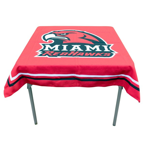 Miami Redhawks Table Cloth measures 48 x 48 inches, is made of 100% Polyester, seamless one-piece construction, and is perfect for any tailgating table, card table, or wedding table overlay. Each includes Officially Licensed Logos and Insignias.