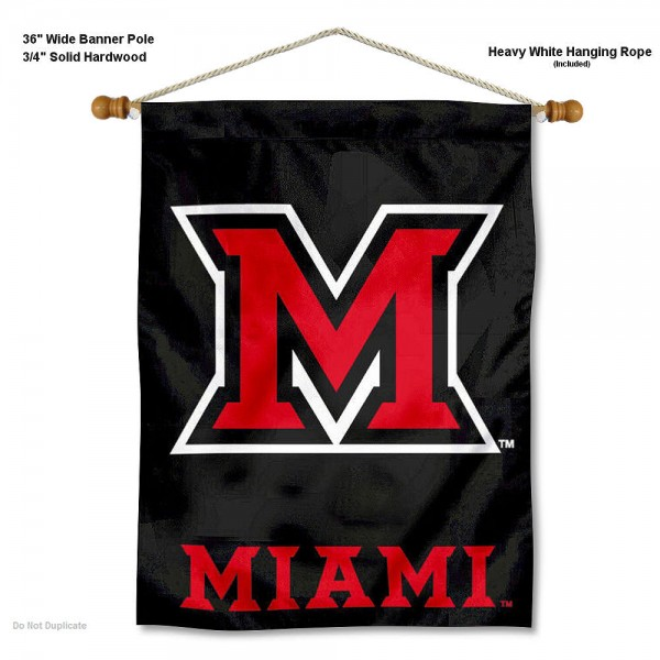 "Miami Redhawks Wall Banner is constructed of polyester material, measures a large 30""x40"", offers screen printed athletic logos, and includes a sturdy 3/4"" diameter and 36"" wide banner pole and hanging cord. Our Miami Redhawks Wall Banner is Officially Licensed by the selected college and NCAA."