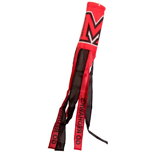 """Miami Redhawks Windsock measures 40"""" in length by 5"""" in width, is made of 100% polyester, offers screen printed NCAA team logos, team names and insignias, has 6 alternative colored streamers and tails, includes a double stringed bridle and hanging swivel clip, and our Miami Redhawks Windsock is authentic, licensed, and approved by the selected university or team."""