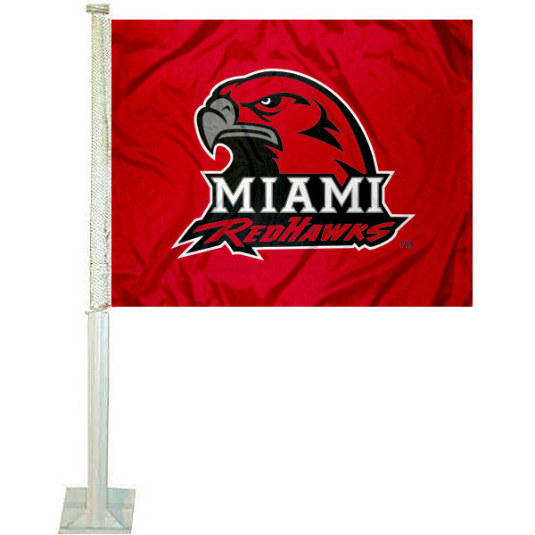 Miami University Car Flag measures 12x15 inches, is constructed of sturdy 2 ply polyester, and has dye sublimated school logos which are readable and viewable correctly on both sides. Miami University Car Flag is officially licensed by the NCAA and selected university.