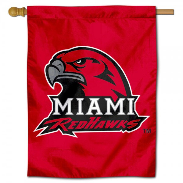 Miami University House Flag is a vertical house flag which measures 30x40 inches, is made of 100% polyester, offers screen printed college team insignias, and has a top pole sleeve to hang vertically. Our Miami University House Flag is officially licensed by the selected university and the NCAA.