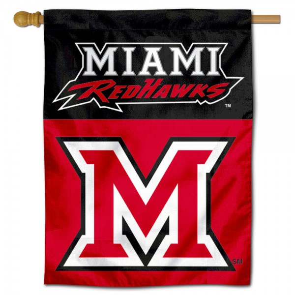 Miami University House Flag is a vertical house flag which measures 30x40 inches, is made of 2 ply 100% polyester, offers dye sublimated NCAA team insignias, and has a top pole sleeve to hang vertically. Our Miami University House Flag is officially licensed by the selected university and the NCAA