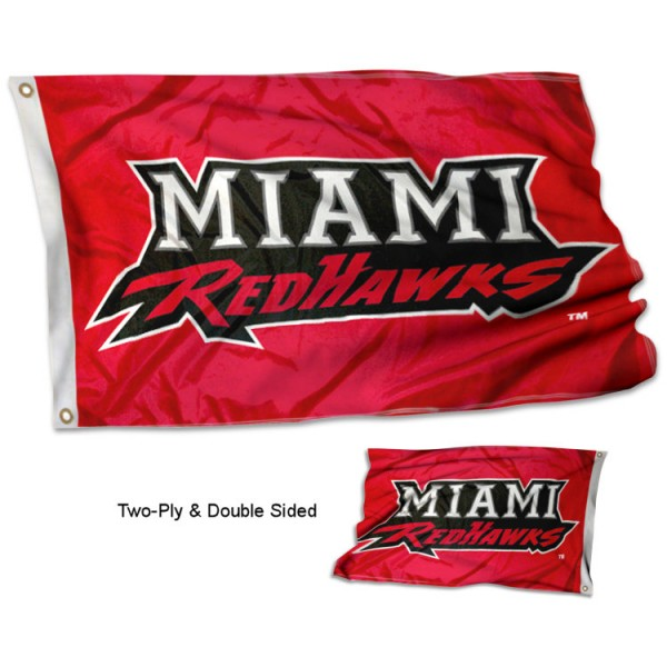 Miami University Redhawks Flag measures 3'x5' in size, is made of double-sided 100% polyester, has quadruple stitched fly ends for durability, and is viewable and readable correctly on both sides. Our Miami University Redhawks Flag is officially licensed by the university, school, and the NCAA.