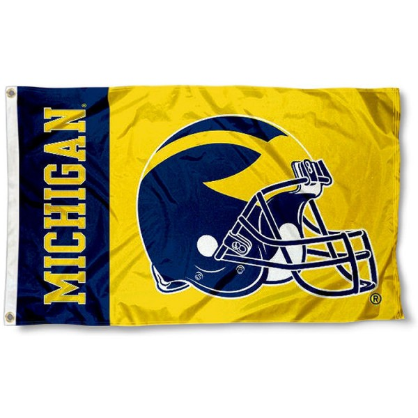 Michigan Football Flag measures 3'x5', is made of 100% poly, has quadruple stitched sewing, two metal grommets, and has double sided Michigan logos. Our Michigan Football Flag is officially licensed by the selected university and the NCAA.