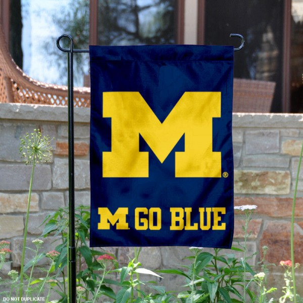 Michigan Go Blue Logo Garden Flag is 13x18 inches in size, is made of 2-layer polyester, screen printed Michigan Go Blue athletic logos and lettering. Available with Same Day Express Shipping, Our Michigan Go Blue Logo Garden Flag is officially licensed and approved by Michigan Go Blue and the NCAA.