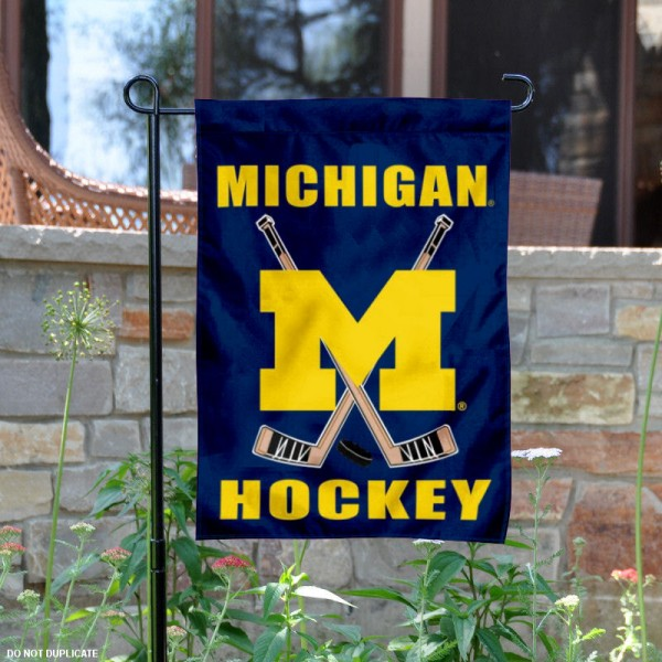 Michigan Hockey Yard Flag is 13x18 inches in size, is made of 2-layer polyester, screen printed UM Wolverines Hockey athletic logos and lettering. Available with Same Day Express Shipping, Our Michigan Hockey Yard Flag is officially licensed and approved by UM Wolverines Hockey and the NCAA.