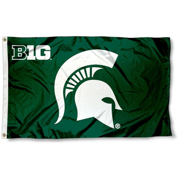 Michigan State Big 10 Flag measures 3'x5', is made of 100% poly, has quadruple stitched sewing, two metal grommets, and has double sided Team University logos. Our Michigan State Big 10 Flag is officially licensed by the selected university and the NCAA.