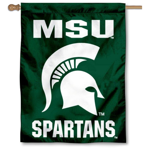Michigan State Spartan Head House Flag