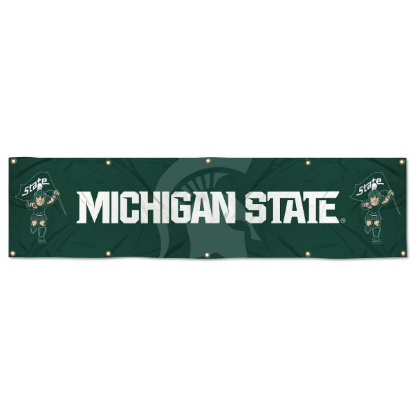 Michigan State Spartans 8 Foot Large Banner measures 2x8 feet and displays Michigan State Spartans logos. Our Michigan State Spartans 8 Foot Large Banner is made of thick polyester and ten grommets around the perimeter for hanging securely. These banners for Michigan State Spartans are officially licensed by the NCAA.