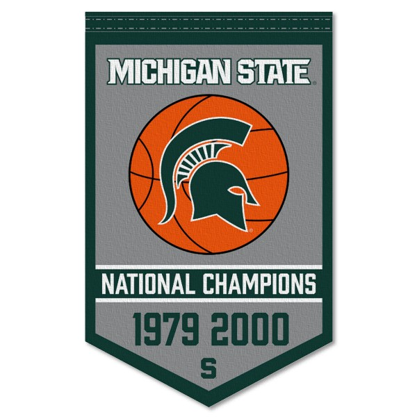 Michigan State Spartans Basketball National Champions Banner consists of our sports dynasty year banner which measures 15x24 inches, is constructed of rigid felt, is single sided imprinted, and offers a pennant sleeve for insertion of a pennant stick, if desired. This sports banner is a unique collectible and keepsake of the legacy game and is Officially Licensed and University, School, and College Approved.