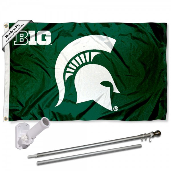 Our Michigan State Spartans Big Ten Flag Pole and Bracket Kit includes the flag as shown and the recommended flagpole and flag bracket. The flag is made of polyester, has quad-stitched flyends, and the NCAA Licensed team logos are double sided screen printed. The flagpole and bracket are made of rust proof aluminum and includes all hardware so this kit is ready to install and fly.