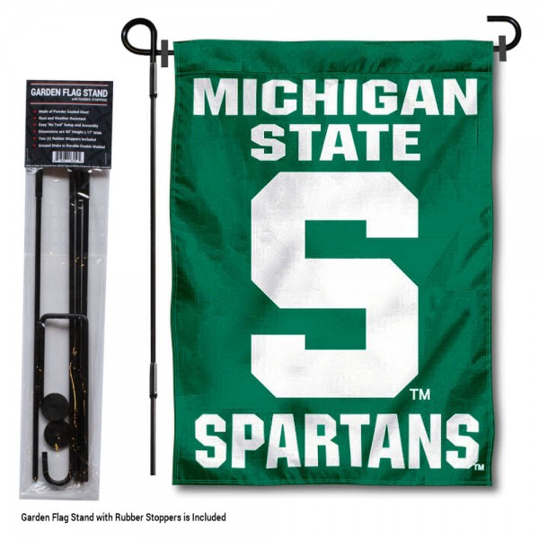 "Michigan State Spartans Block S Garden Flag and Pole Stand kit includes our 13""x18"" garden banner which is made of 2 ply poly with liner and has screen printed licensed logos. Also, a 40""x17"" inch garden flag stand is included so your Michigan State Spartans Block S Garden Flag and Pole Stand is ready to be displayed with no tools needed for setup. Fast Overnight Shipping is offered and the flag is Officially Licensed and Approved by the selected team."