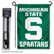 Michigan State Spartans Block S Garden Flag and Pole Stand