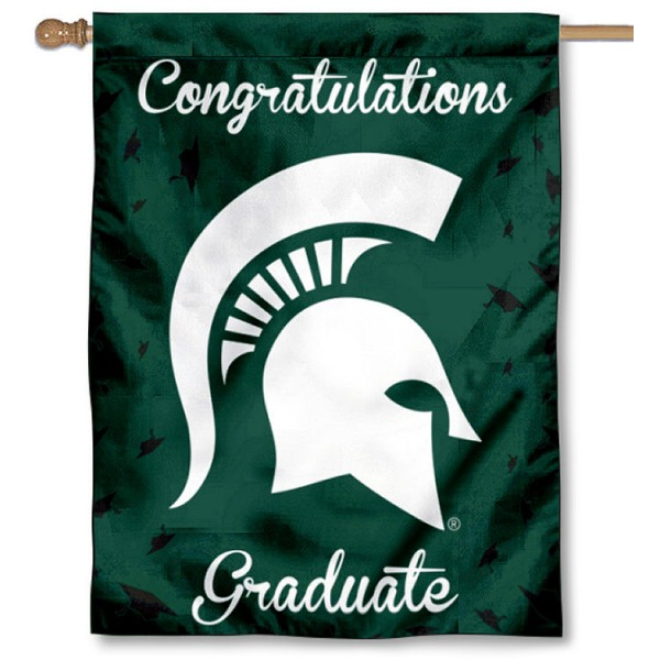 Michigan State Spartans Congratulations Graduate Flag measures 30x40 inches, is made of poly, has a top hanging sleeve, and offers dye sublimated Michigan State Spartans logos. This Decorative Michigan State Spartans Congratulations Graduate House Flag is officially licensed by the NCAA.