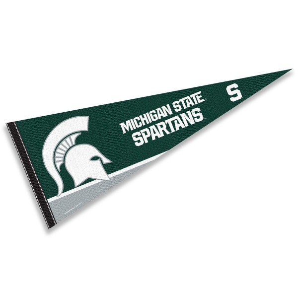 Michigan State Spartans Decorations consists of our full size pennant which measures 12x30 inches, is constructed of felt, is single sided imprinted, and offers a pennant sleeve for insertion of a pennant stick, if desired. This Michigan State Spartans Decorations is officially licensed by the selected university and the NCAA