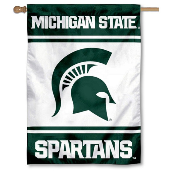 Michigan State Spartans Double Sided Banner is a vertical house flag which measures 28x40 inches, is made of 2 ply 100% nylon, offers screen printed NCAA team insignias, and has a top pole sleeve to hang vertically. Our Michigan State Spartans Double Sided Banner is officially licensed by the selected university and the NCAA.