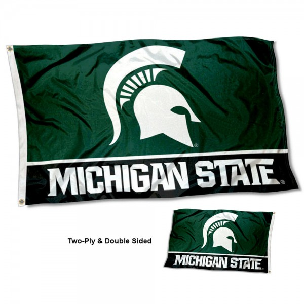 Michigan State Spartans Double Sided Flag measures 3'x5', is made of 2 layer 100% polyester, has quadruple stitched flyends for durability, and is readable correctly on both sides. Our Michigan State Spartans Double Sided Flag is officially licensed by the university, school, and the NCAA.