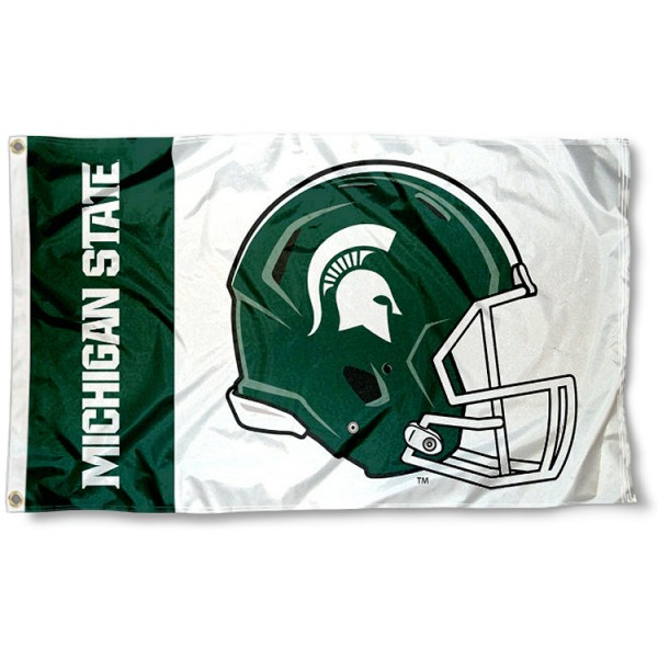 Michigan State Spartans Football Helmet Flag measures 3x5 feet, is made of 100% polyester, offers quadruple stitched flyends, has two metal grommets, and offers screen printed NCAA team logos and insignias. Our Michigan State Spartans Football Helmet Flag is officially licensed by the selected university and NCAA.