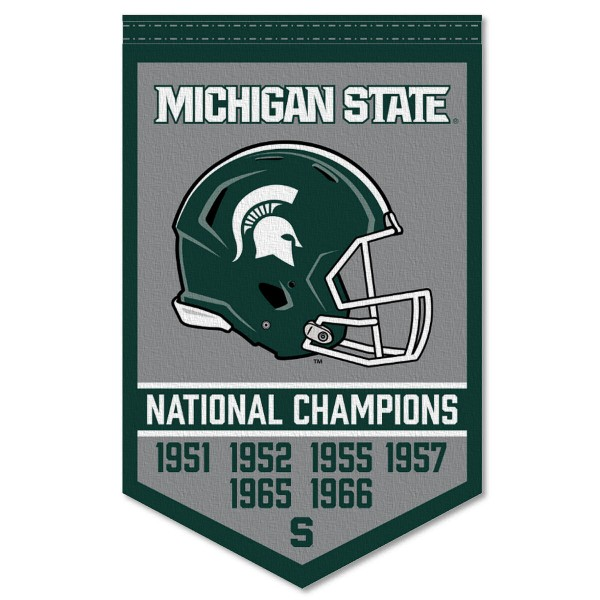 Michigan State Spartans Football National Champions Banner consists of our sports dynasty year banner which measures 15x24 inches, is constructed of rigid felt, is single sided imprinted, and offers a pennant sleeve for insertion of a pennant stick, if desired. This sports banner is a unique collectible and keepsake of the legacy game and is Officially Licensed and University, School, and College Approved.