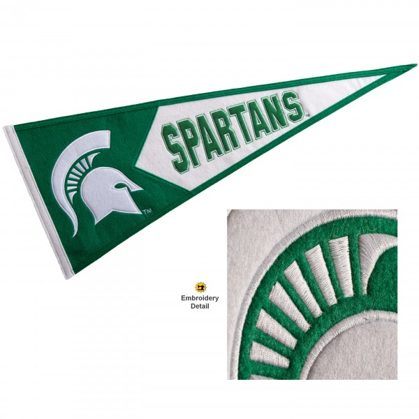 Michigan State Spartans Genuine Wool Pennant consists of our full size 13x32 inch Winning Streak Sports wool college pennant. The logos, lettering and insignia is quality embroidered and appliqued, feature a alternate logo color header, and has sewn wool perimeter. This Michigan State Spartans College Pennant Pennant is Officially Licensed and University Approved with Overnight Next Day Shipping.