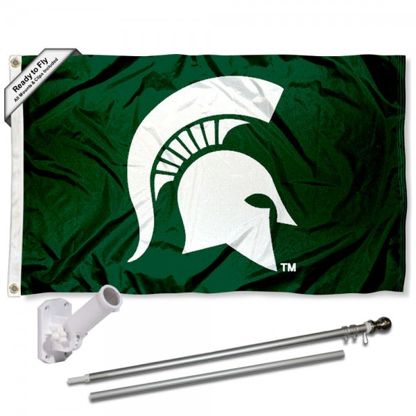 Our Michigan State Spartans Helmet Flag Pole and Bracket Kit includes the flag as shown and the recommended flagpole and flag bracket. The flag is made of polyester, has quad-stitched flyends, and the NCAA Licensed team logos are double sided screen printed. The flagpole and bracket are made of rust proof aluminum and includes all hardware so this kit is ready to install and fly.