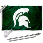 Michigan State Spartans Helmet Flag Pole and Bracket Kit