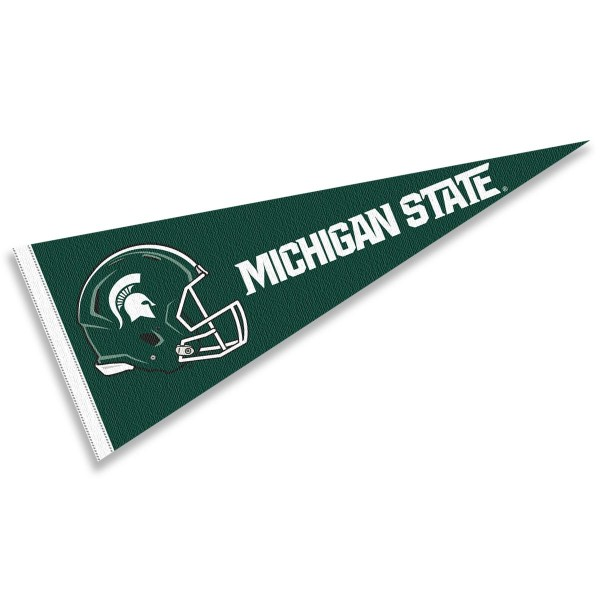 Michigan State Spartans Helmet Pennant consists of our full size sports pennant which measures 12x30 inches, is constructed of felt, is single sided imprinted, and offers a pennant sleeve for insertion of a pennant stick, if desired. This Michigan State Spartans Pennant Decorations is Officially Licensed by the selected university and the NCAA.