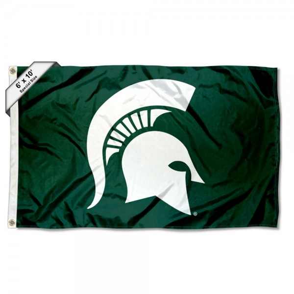 Michigan State Spartans Large 6'x10' Flag measures 6x10 feet, is made of thick poly, has quadruple-stitched fly ends, and Michigan State Spartans logos are screen printed into the Michigan State Spartans Large 6'x10' Flag. This Michigan State Spartans Large 6'x10' Flag is officially licensed by and the NCAA.
