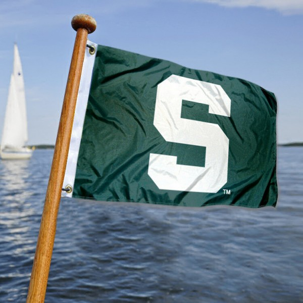 Michigan State Spartans Nautical Flag measures 12x18 inches, is made of two-ply polyesters, offers quadruple stitched flyends for durability, has two metal grommets, and is viewable from both sides. Our Michigan State Spartans Nautical Flag is officially licensed by the selected university and the NCAA and can be used as a motorcycle flag, golf cart flag, or ATV flag