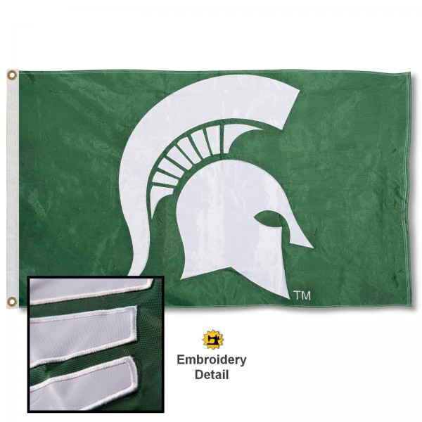 Michigan State Spartans Nylon Embroidered Flag measures 3'x5', is made of 100% nylon, has quadruple flyends, two metal grommets, and has double sided appliqued and embroidered University logos. These Michigan State Spartans 3x5 Flags are officially licensed by the selected university and the NCAA.