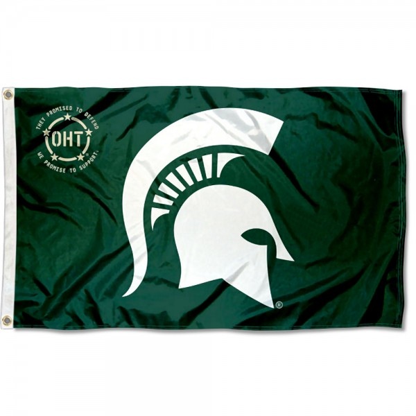 Michigan State Spartans Operation Hat Trick Flag measures 3x5 feet, is made of 100% polyester, offers quadruple stitched flyends, has two metal grommets, and offers screen printed NCAA team logos and insignias. Our Michigan State Spartans Operation Hat Trick Flag is officially licensed by the selected university and NCAA.
