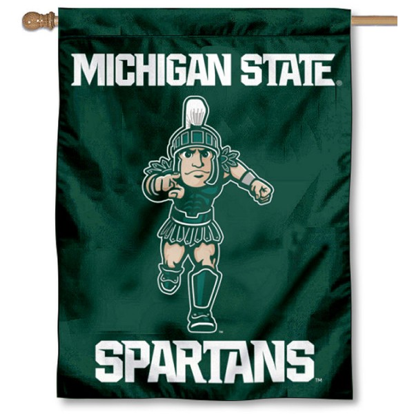 Michigan State Spartans Running Sparty Double Sided House Flag is a vertical house flag which measures 30x40 inches, is made of 2 ply 100% polyester, offers screen printed NCAA team insignias, and has a top pole sleeve to hang vertically. Our Michigan State Spartans Running Sparty Double Sided House Flag is officially licensed by the selected university and the NCAA.