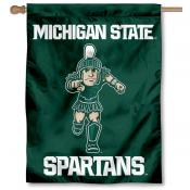 Michigan State Spartans Running Sparty Double Sided House Flag