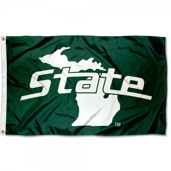 Michigan State Spartans State of Michigan Flag measures 3x5 feet, is made of 100% polyester, offers quadruple stitched flyends, has two metal grommets, and offers screen printed NCAA team logos and insignias. Our Michigan State Spartans State of Michigan Flag is officially licensed by the selected university and NCAA.