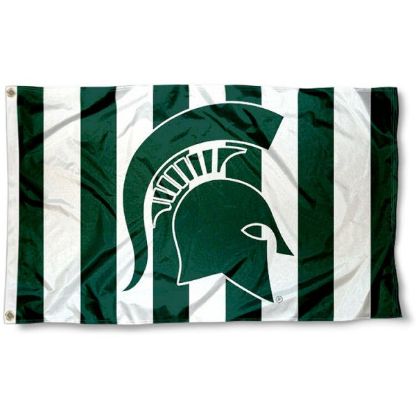 Michigan State Spartans Stripe Out Flag measures 3x5 feet, is made of 100% polyester, offers quadruple stitched flyends, has two metal grommets, and offers screen printed NCAA team logos and insignias. Our Michigan State Spartans Stripe Out Flag is officially licensed by the selected university and NCAA.