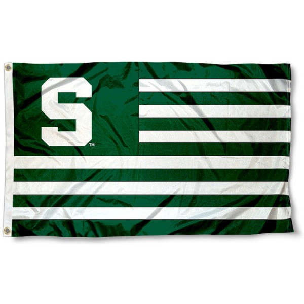 Michigan State Spartans Striped Flag is made of polyester, measures 3x5 feet, has quadruple-stitched fly ends, and the colored stripes are screen printed into the Michigan State Spartans Striped Flag. The Michigan State Spartans Striped Flag is approved by the NCAA and the university.