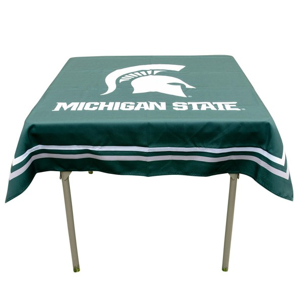Michigan State Spartans Table Cloth measures 48 x 48 inches, is made of 100% Polyester, seamless one-piece construction, and is perfect for any tailgating table, card table, or wedding table overlay. Each includes Officially Licensed Logos and Insignias.