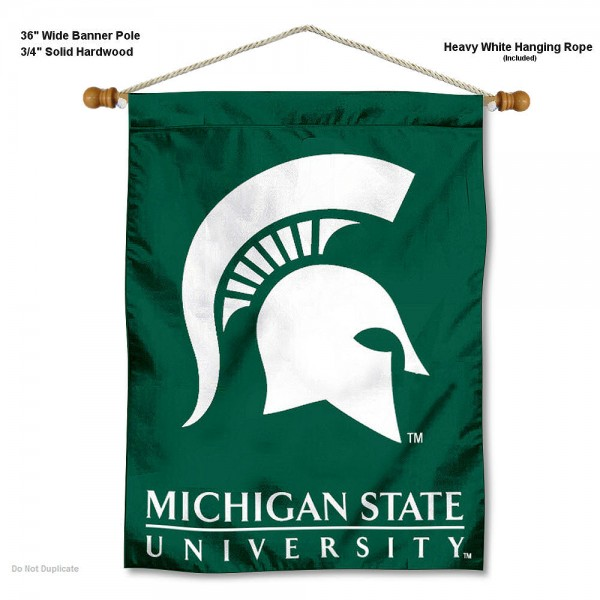 """Michigan State Spartans Wall Banner is constructed of polyester material, measures a large 30""""x40"""", offers screen printed athletic logos, and includes a sturdy 3/4"""" diameter and 36"""" wide banner pole and hanging cord. Our Michigan State Spartans Wall Banner is Officially Licensed by the selected college and NCAA."""