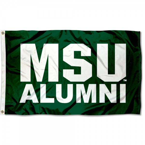 Michigan State University Alumni Flag measures 3'x5', is made of 100% poly, has quadruple stitched sewing, two metal grommets, and has double sided Michigan State University logos. Our Michigan State University Alumni Flag is officially licensed by the selected university and the NCAA.