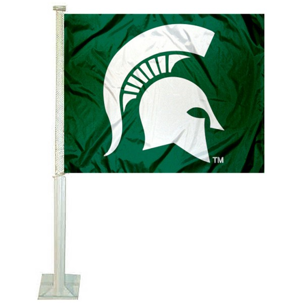 Michigan State University Car Window Flag measures 12x15 inches, is constructed of sturdy 2 ply polyester, and has screen printed school logos which are readable and viewable correctly on both sides. Michigan State University Car Window Flag is officially licensed by the NCAA and selected university.