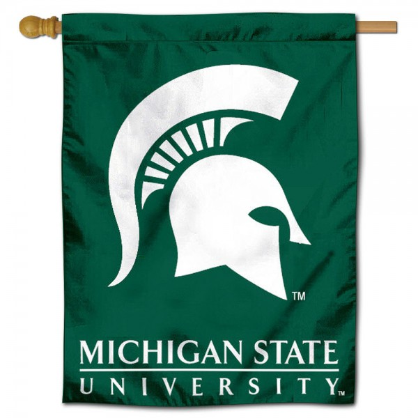 "Michigan State University Decorative Flag is constructed of polyester material, is a vertical house flag, measures 30""x40"", offers screen printed athletic insignias, and has a top pole sleeve to hang vertically. Our Michigan State University Decorative Flag is Officially Licensed by Michigan State University and NCAA."