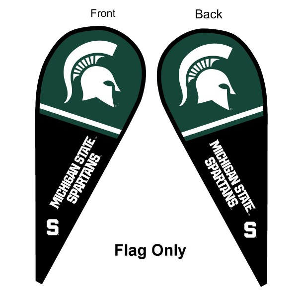 Michigan State University Feather Flag is 9 feet by 3 feet and is a tall 10' when fully assembled. The feather flag is made of thick polyester and is readable and viewable on both sides. The screen printed Michigan State Spartans double sided logos are NCAA Officially Licensed and is Team and University approved.