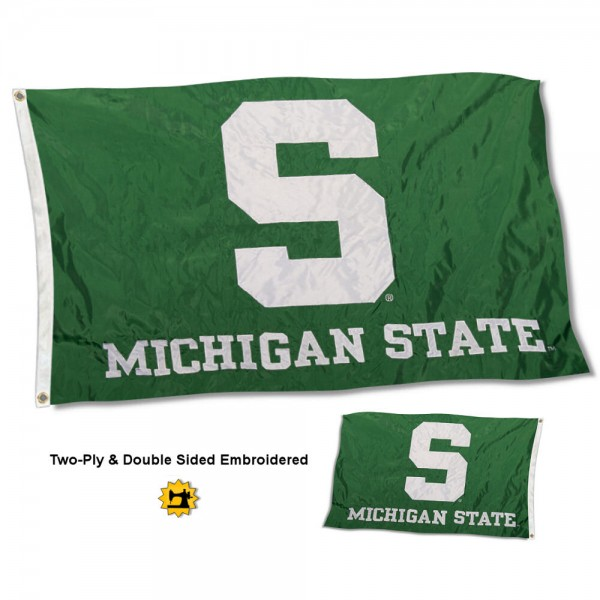 Michigan State University Flag measures 3'x5' in size, is made of 2 layer embroidered 100% nylon, has quadruple stitched fly ends for durability, and is viewable and readable correctly on both sides. Our Michigan State University Flag is officially licensed by the university, school, and the NCAA