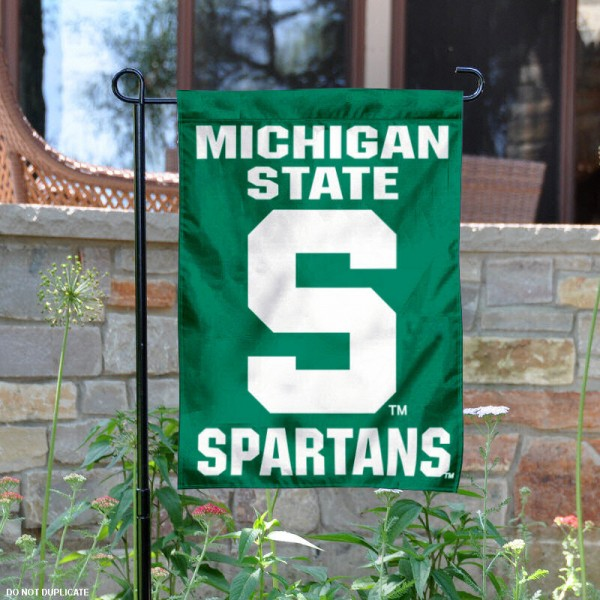 Michigan State University Garden Flag is 13x18 inches in size, is made of 2-layer polyester, screen printed Michigan State University athletic logos and lettering. Available with Same Day Express Shipping, Our Michigan State University Garden Flag is officially licensed and approved by Michigan State University and the NCAA.