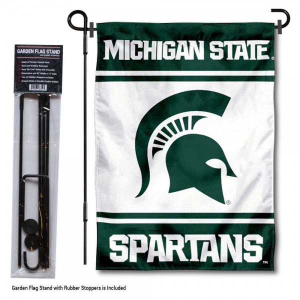 "Michigan State University Garden Flag and Stand kit includes our 13""x18"" garden banner which is made of 2 ply poly with liner and has screen printed licensed logos. Also, a 40""x17"" inch garden flag stand is included so your Michigan State University Garden Flag and Stand is ready to be displayed with no tools needed for setup. Fast Overnight Shipping is offered and the flag is Officially Licensed and Approved by the selected team."