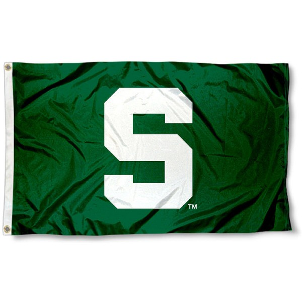 Michigan State University Green Flag measures 3'x5', is made of 100% poly, has quadruple stitched sewing, two metal grommets, and has double sided Michigan State University logos. Our Michigan State University Green Flag is officially licensed by the selected university and the NCAA.