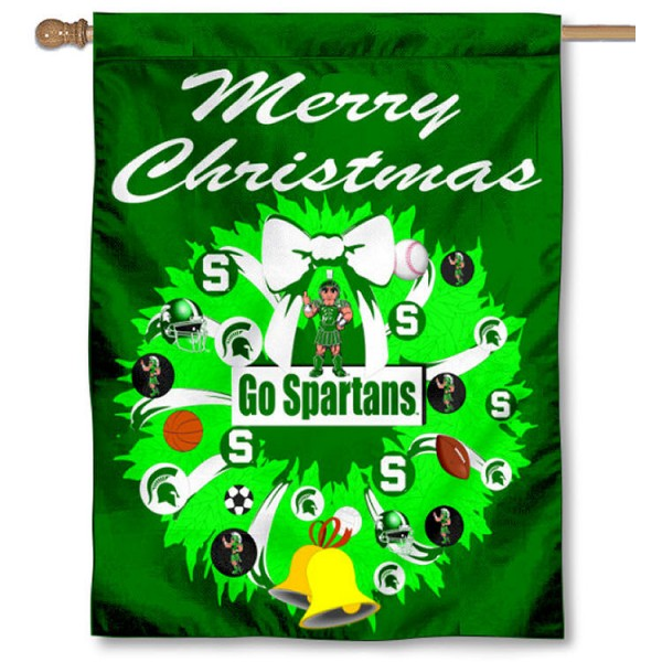 Michigan State University Holiday Flag is a decorative house flag, 30x40 inches, made of 100% polyester, Holiday NCAA team insignias, and has a top pole sleeve to hang vertically. Our Michigan State University Holiday Flag is officially licensed by the selected university and the NCAA.